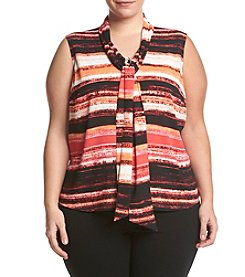 Calvin Klein Plus Size Striped Tie Neck Blouse