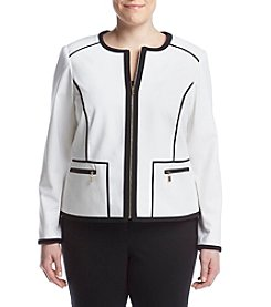 Calvin Klein Plus Size Color Block Zip Front Jacket