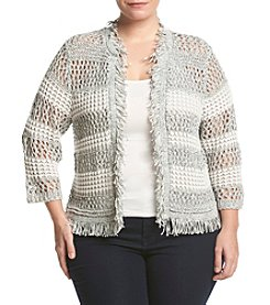 Cupio Plus Size Striped Fringe Sweater Jacket