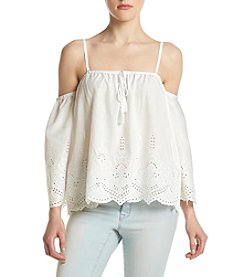 Sequin Hearts® Eyelet Trim Off-Shoulder Top