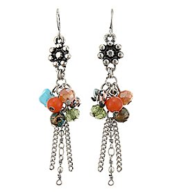 Ruff Hewn Drop Tassel Earring With Multi Color Beads