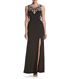 Betsy & Adam Beaded Illusion Dress