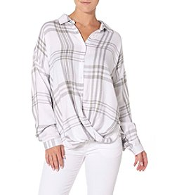 Silver Jeans Co.Twisted Front Plaid Blouse