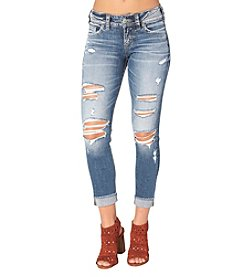 Silver Jeans Co. Suki Destructed Cuff Crop Jeans