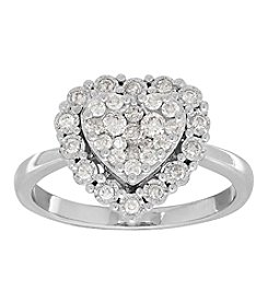 10K White Gold 0.50ct Diamond Heart Ring