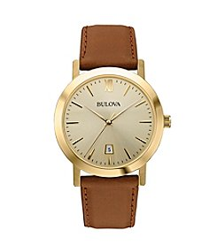 Bulova® Men's Classic Collection Brown Leather Watch
