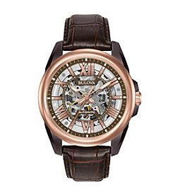 Bulova® Men's Rose Goldtone & Brown Leather Automatic Watch