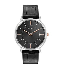 Bulova®  Men's Classic Collection Black Leather Strap Watch