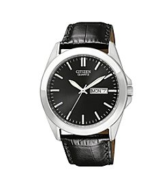 Citizen® Men's Black Leather Strap Watch