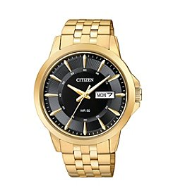 Citizen® Men's Everyday Men's Black Dial Goldtone Stainless Steel Watch
