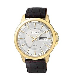 Citizen® Men's Brown Leather Strap Watch