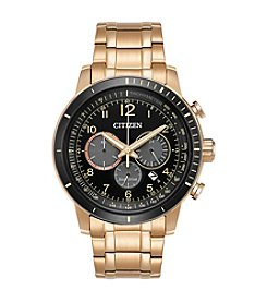 Citizen® Men's Eco-Drive Rose Goldtone Brycen Chronograph Watch