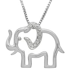 Marsala Genuine Diamond Elephant Pendant