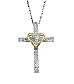 Marsala Genuine Diamond Heart On Cross Pendant