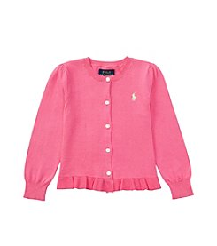 Polo Ralph Lauren® Girls' 2T-6X Solid Ruffle Cardigan