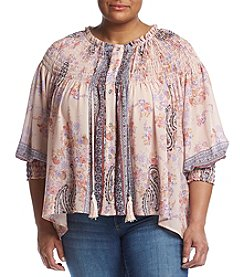 Skylar & Jade™ Plus Size Paisley Smocked Neck Top