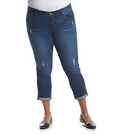Democracy Plus Size Destructed Cropped Jeans
