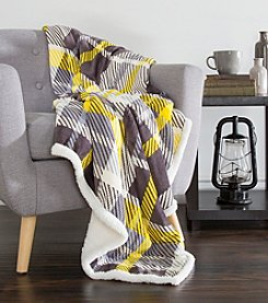 Lavish Home Plaid Yellow and Grey Fleece Sherpa Blanket Throw
