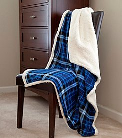 Lavish Home Blue Fleece Sherpa Blanket Throw