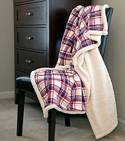Lavish Home Plaid Fleece Sherpa Throw