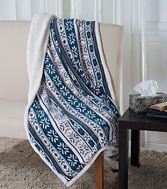 Lavish Home Snowflakes Fleece Sherpa Blanket Throw