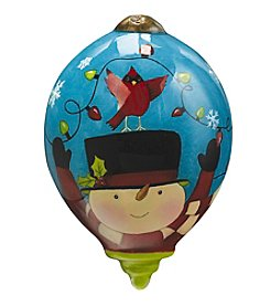 Ne'Qwa Art® Frosty's Excited For Christmas by Susan Winget Petite Princess-Shaped Glass Ornament