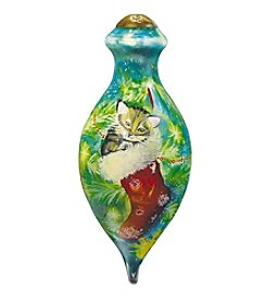 Ne'Qwa Art® Cozy Christmas Kitten by Sarah Summer Petite Brilliant-Shaped Glass Ornament