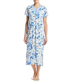 Miss Elaine® Long Floral Zip Robe