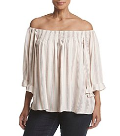 Living Doll® Plus Size Striped Off-Shoulder Top