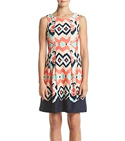 Gabby Skye® Ikat Scuba Fit And Flare Dress