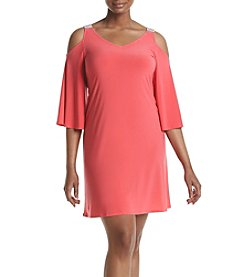 Prelude® Plus Size Cold-Shoulder Trapeze Dress