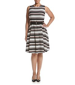 Gabby Skye® Plus Size Scuba Stripe Dress
