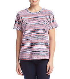 Studio Works® Petites' Striped Crew Neck Tee