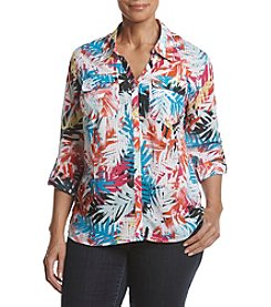 Studio Works® Plus Size Roll Sleeve Print Blouse