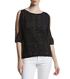 Jeanne Pierre® Pattern Cold Shoulder Sweater