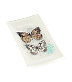 LivingQuarters English Garden Butterfly Glass Tray