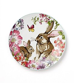 LivingQuarters Easter Two Bunny Plate