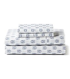 Living Quarters 225-Thread Count Cotton Percale Owl Sheet Set