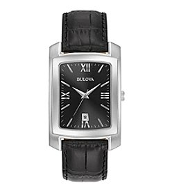 Bulova® Classic Men's Rectangular Watch With Black Crocodile Grain Leather Strap