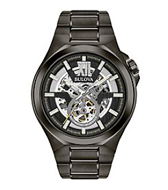 Bulova® Sport Style In Gunmetal Case, Open Aperture Black Dial Watch With Silvertone Accents