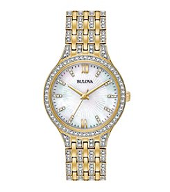 Bulova® Women's Goldtone Crystal White Dial Watch