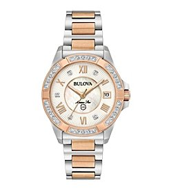 Bulova® Women's 32mm Two-Tone Marine Star Stainless Steel and Diamond Bracelet Watch