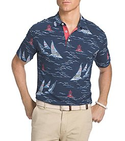 IZOD® Men's Big & Tall Saltwater Dockside Chambray Printed Polo Shirt