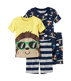 Carter's® Boys' 5-12 Surf Monkey 4-Piece Shirt And Bottom Set