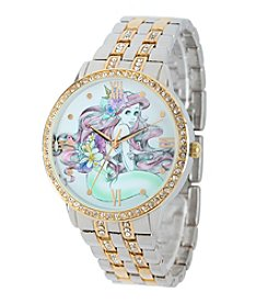 Disney® Ariel Women's Two-Tone Silver and Gold Alloy Watch with Glitz