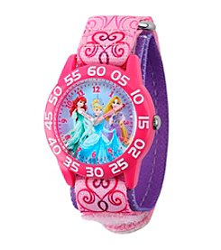 Disney® Princess Girls' Pink Plastic Time Teacher Watch