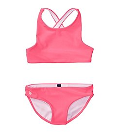 Polo Ralph Lauren® Girls' 2T-6X 2-Piece Solid Swimsuit