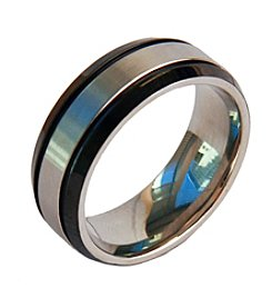 Men's Black & Satin Finish Stainless Steel Ring