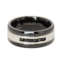 Men's Black Diamond Black & Stainless Steel Ring