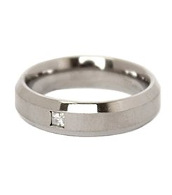 Men's Diamond Satin Finish Titanium Ring